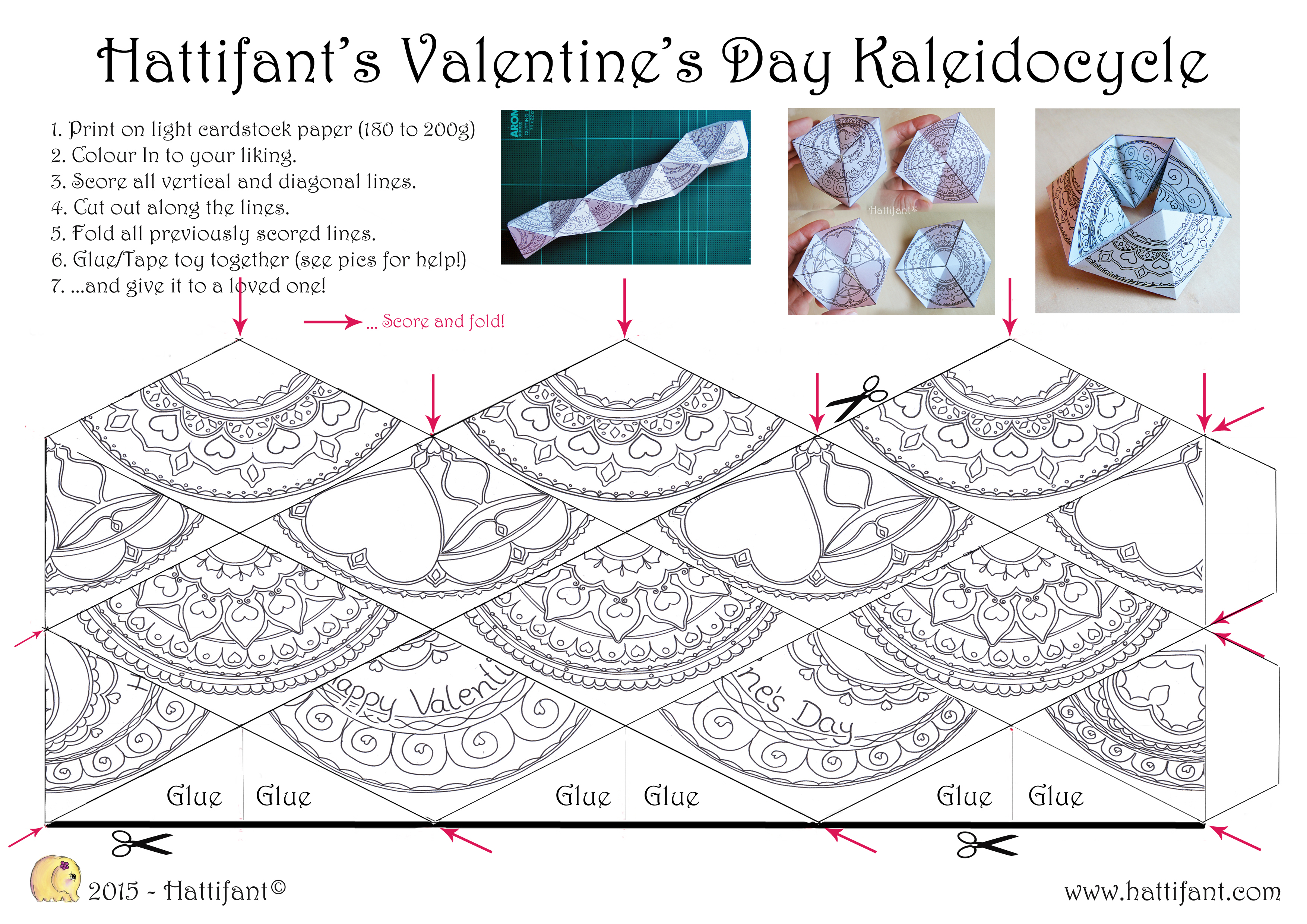 Kaleidocycle Valentinesday A4 Hattifant