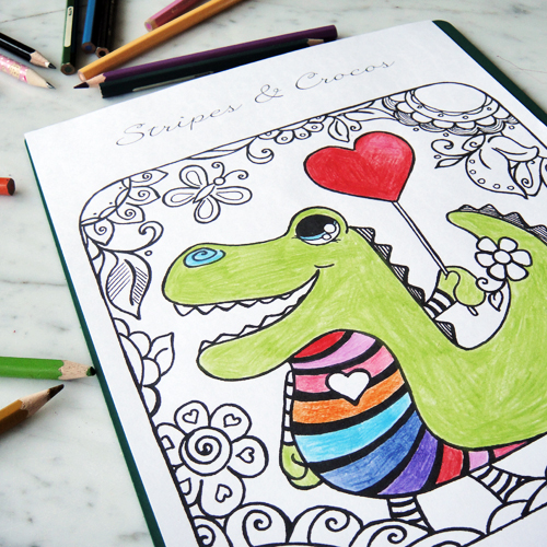 Hattifant's Stripy Croco Coloring Page