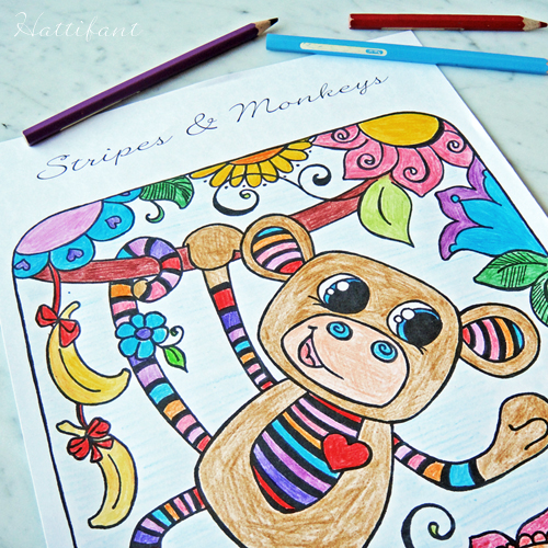 Hattifant's Stripy Monkey Coloring Page