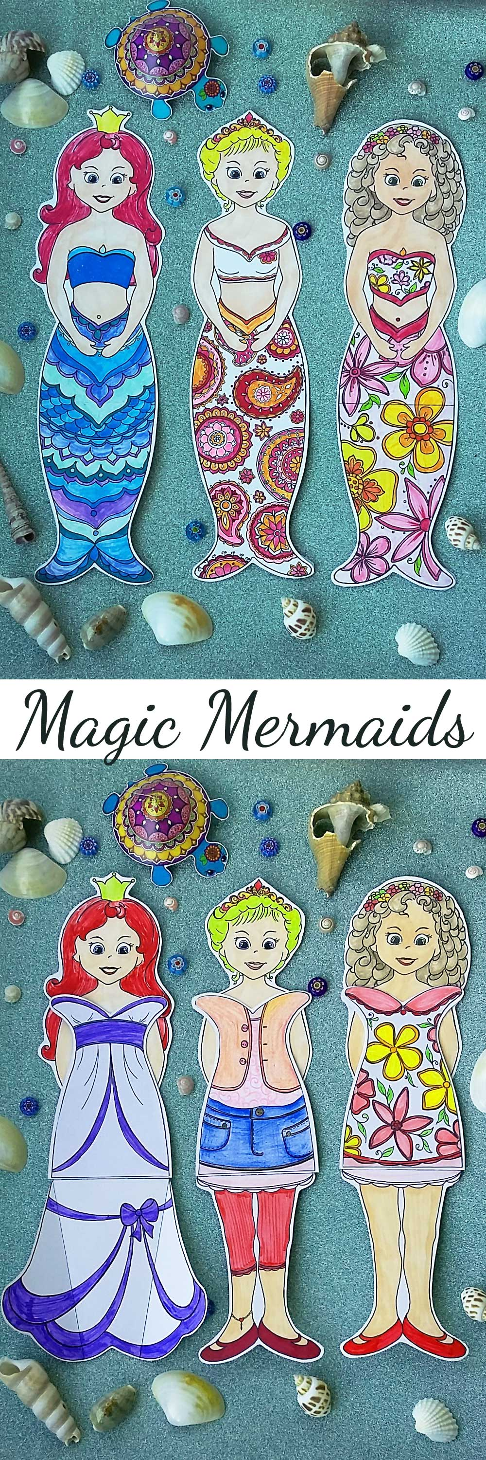 Hattifant's Magic Mermaid World Coloring page and Papercraft