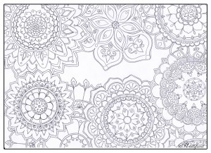 Hattifant's Stress Relief Mandala Flowers to Color