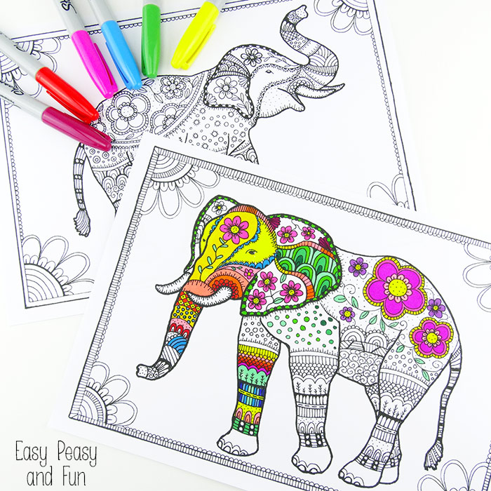 Free Elephant Coloring Pages For Adults EasyPeasy