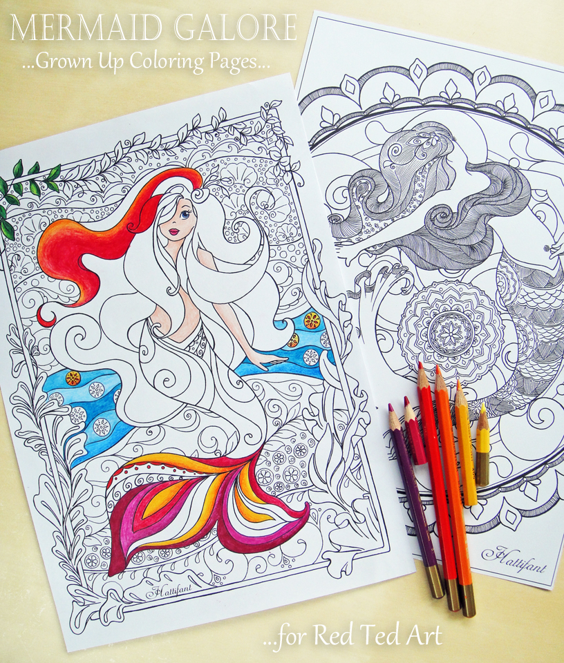 Hattifant's Mermaid Galore - Grown Up Coloring
