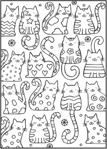 coloring page samples from dover dover cats - Free Coloring Pages Adult