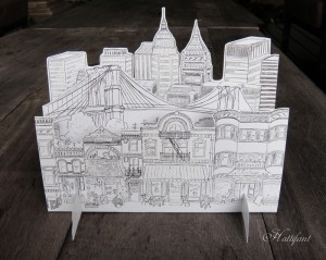 Hattifant's Brooklyn GrownUp coloring 3D paper art