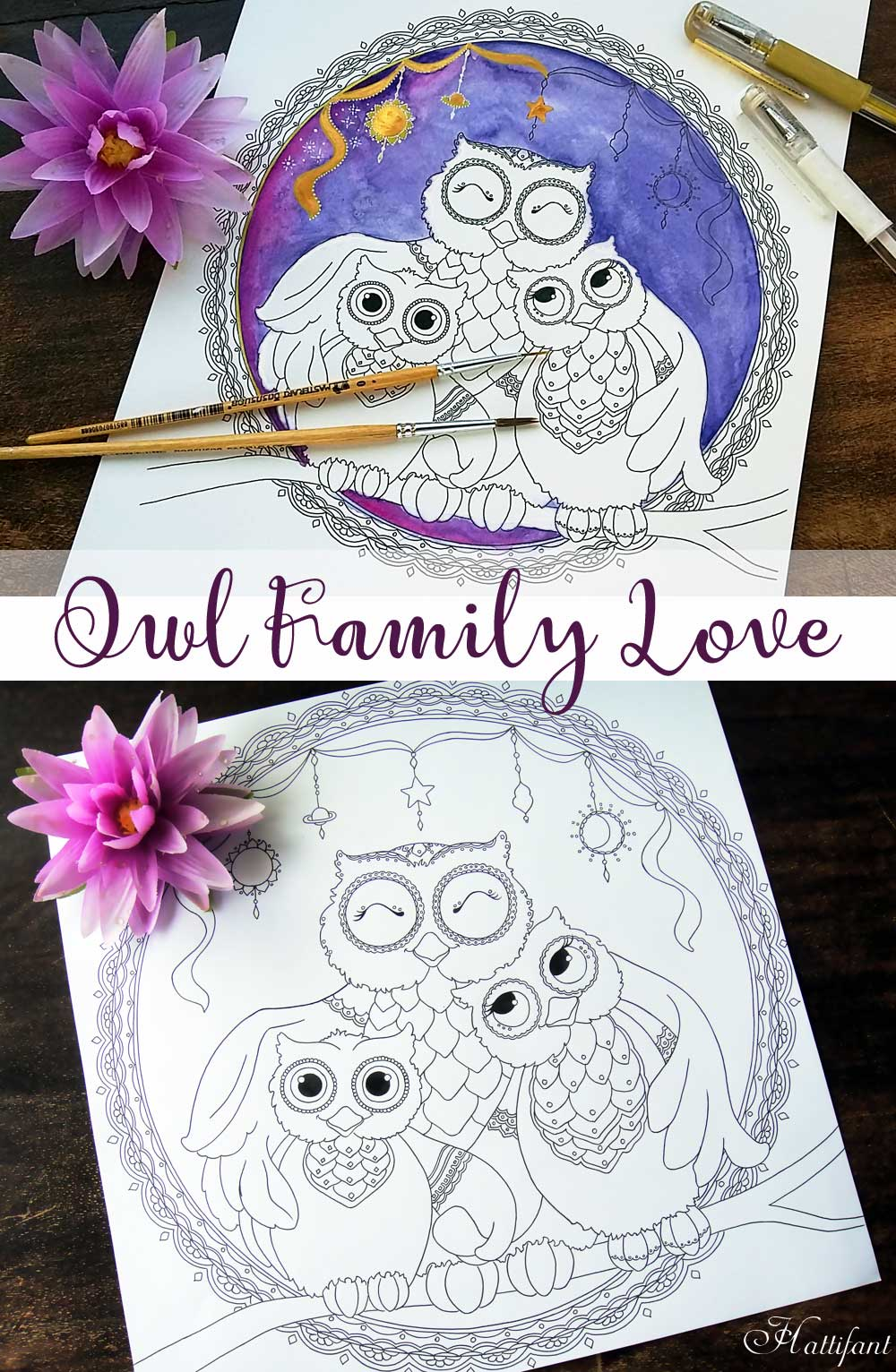 Hattifant's Free Owl Family Love Coloring Page to Download