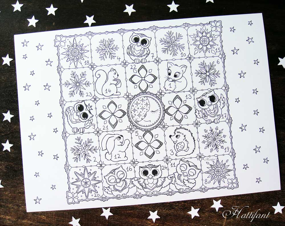 Hattifant Christmas Advent Calendar to color printable coloring page woodland animals owl stars snowflakes