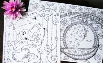Hattifant's Coloring Pages for the Heart and Soul Girl dancing with frog umbrella in the rain