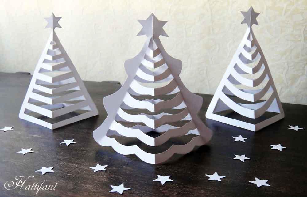 3D Paper Christmas Tree Scenes
