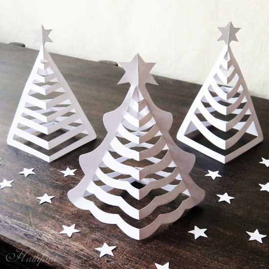 Christmas Tree Made Out Of Paper: Hattifant 3D Christmas Paper Trees Origami Craft