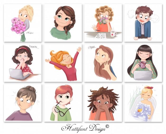 Hattifants Blogger Ladies Illustration Emojis