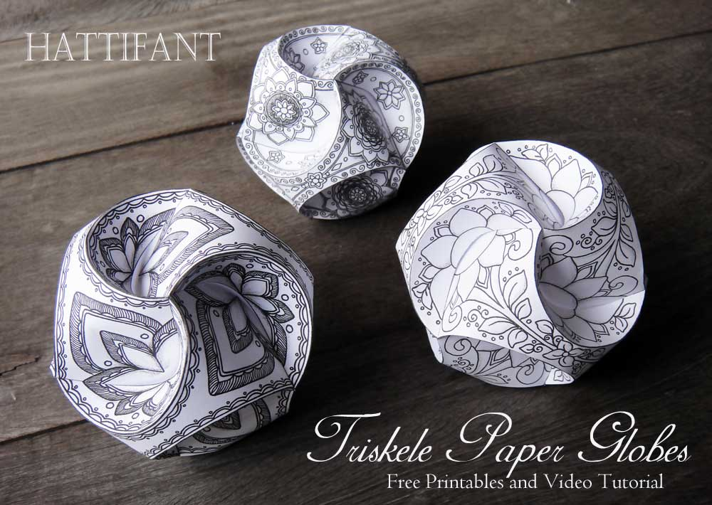 image relating to Printable Globes identified as Triskele Paper Globes - Hattifant