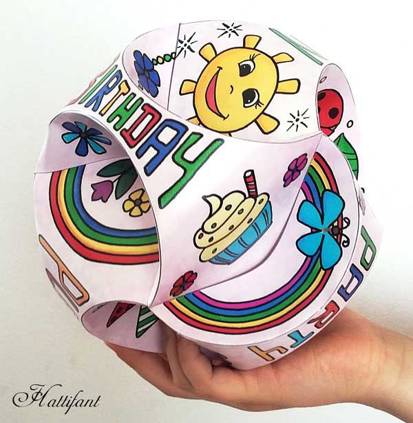 Hattifant's Triskele Paper Globe 3D Birthday Invitation