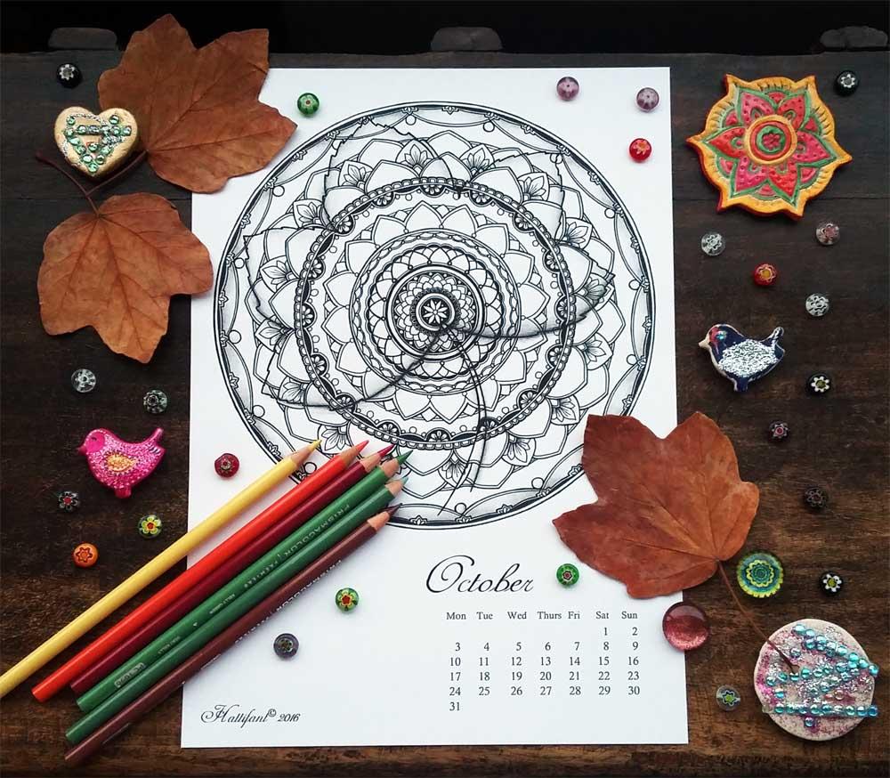 Hattifant Mandalendar Calendar Coloring Page 2016 October