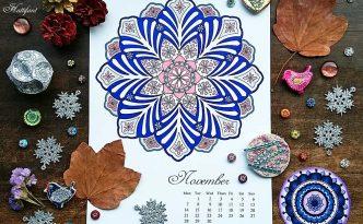 Hattifant Mandalendar Calendar Coloring Page 2016 November