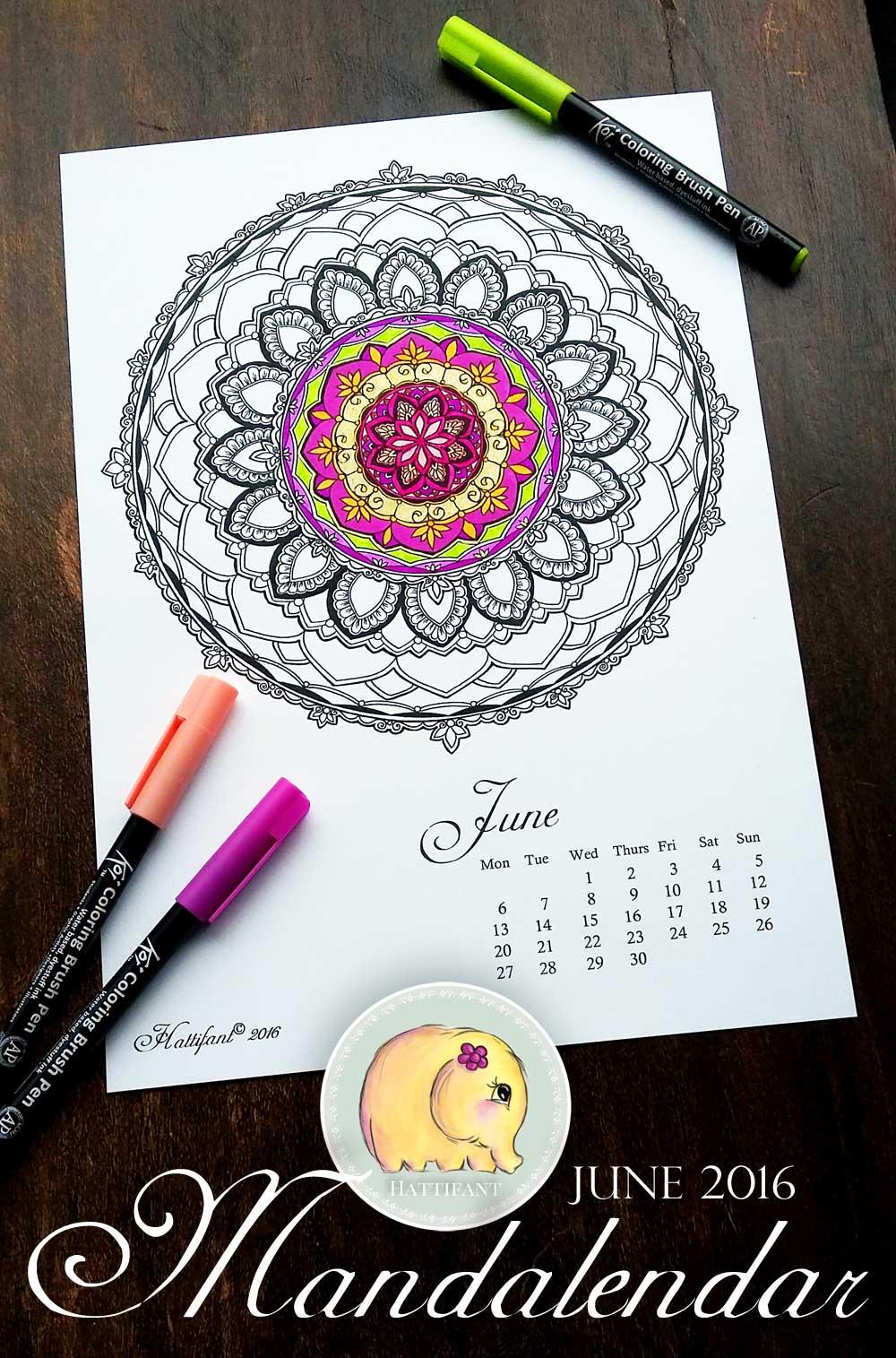Hattifant Mandalendar Calendar Coloring Page 2016 June