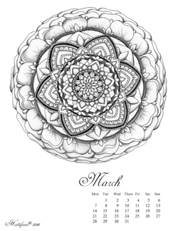Hattifant Mandalendar March 2016 Calendar Coloring Page
