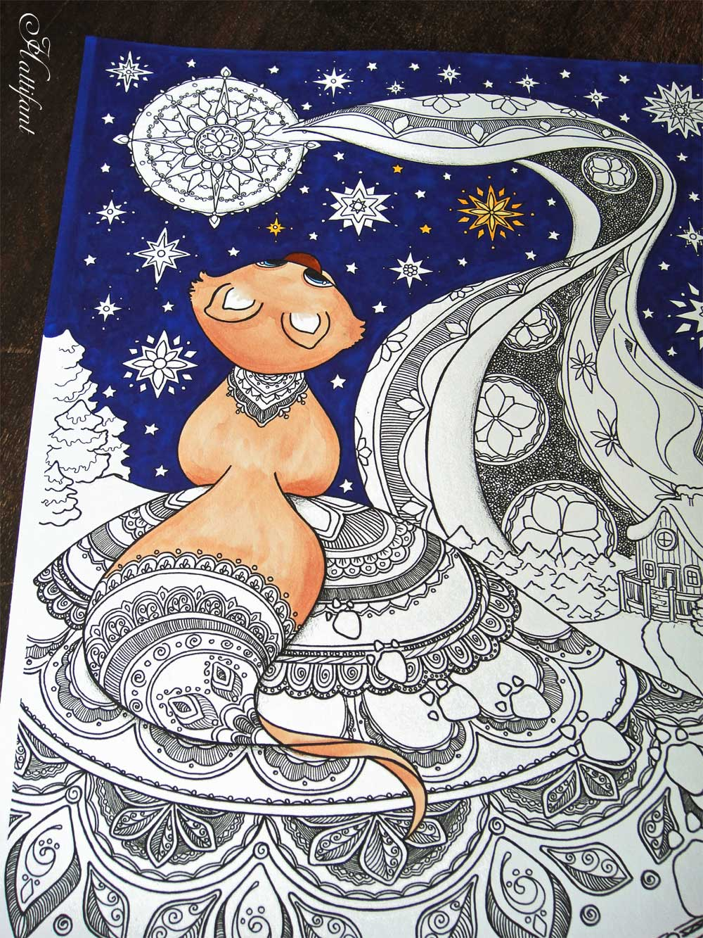 hattifant star gazing little fox - Winter Coloring Pages For Adults