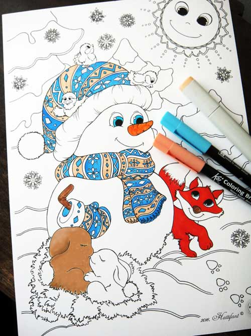 Hattifant Winter Coloring Page Snowman Fox and rabbits