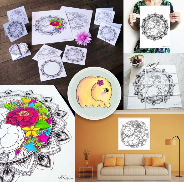 Hattifant Flower Mandala Coloring Page Stationary Poster Canvas Set