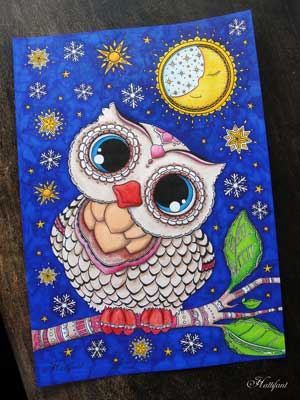 Owl coloring page sample for adult coloring book treasury