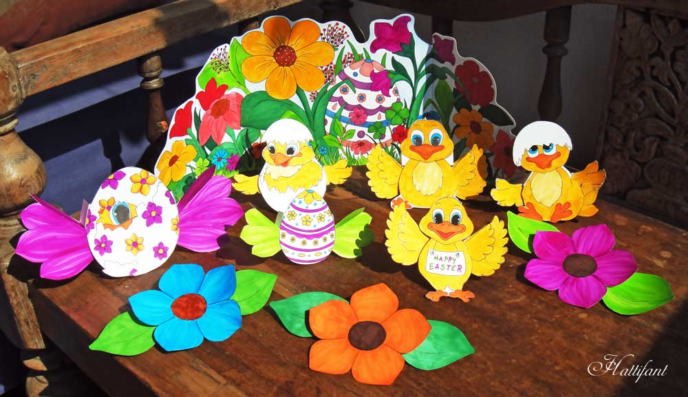 Hattifant Easter Chicks Action Paper Toy Set Coloring Page Paper Craft 3D Coloring