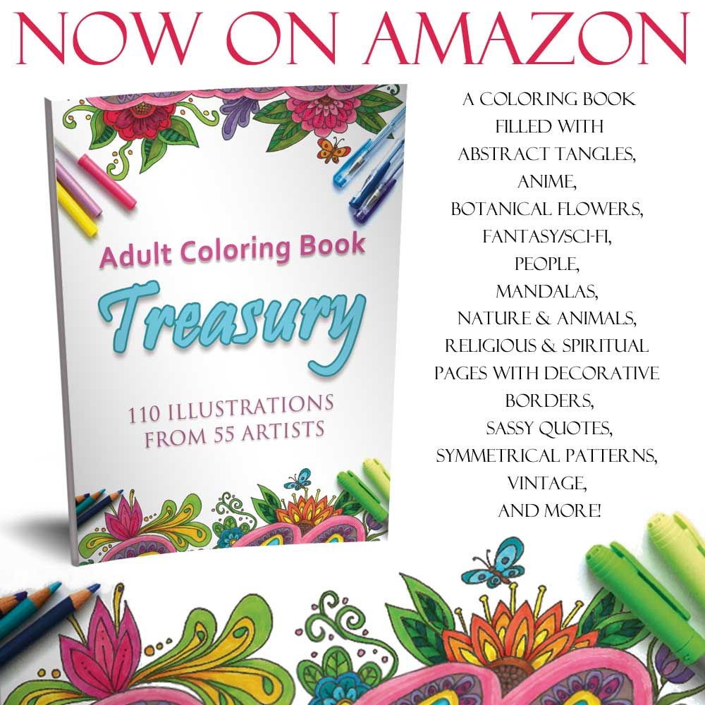 Hattifant shows adult coloring treasury a coloring book with 55 artists and 110 coloring pages