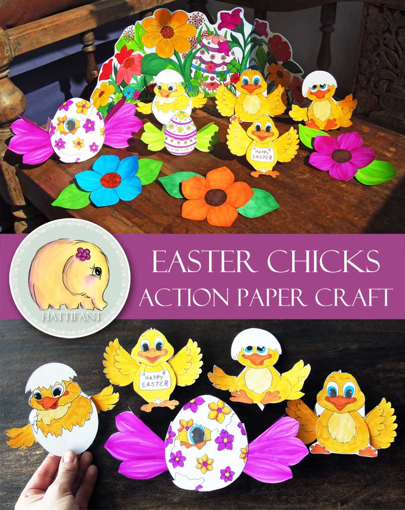 Hattifant Easter Chicks Action Paper Toy Coloring Set