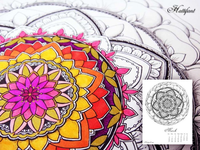 Hattifant's Mandalendar March 2016 Mandala Coloring Page