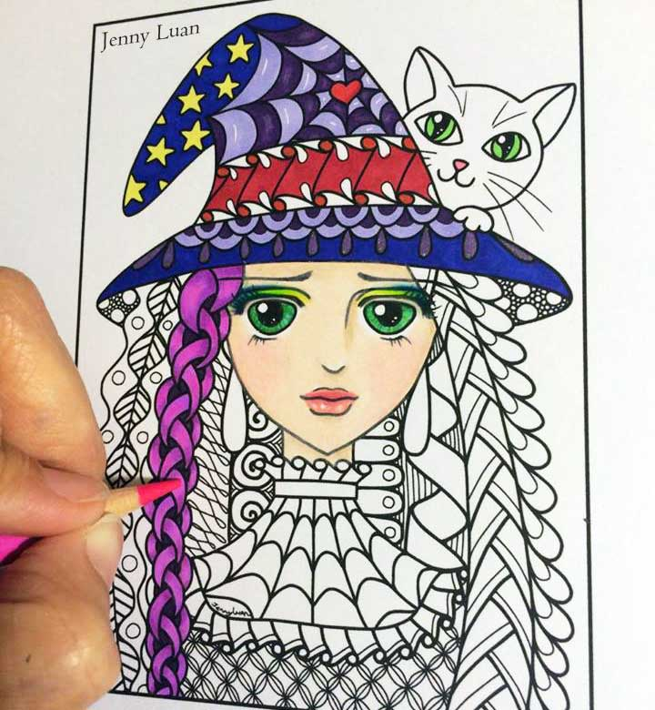 Sample of coloring page by Jenny Luan for Adult Coloring Book Treasury