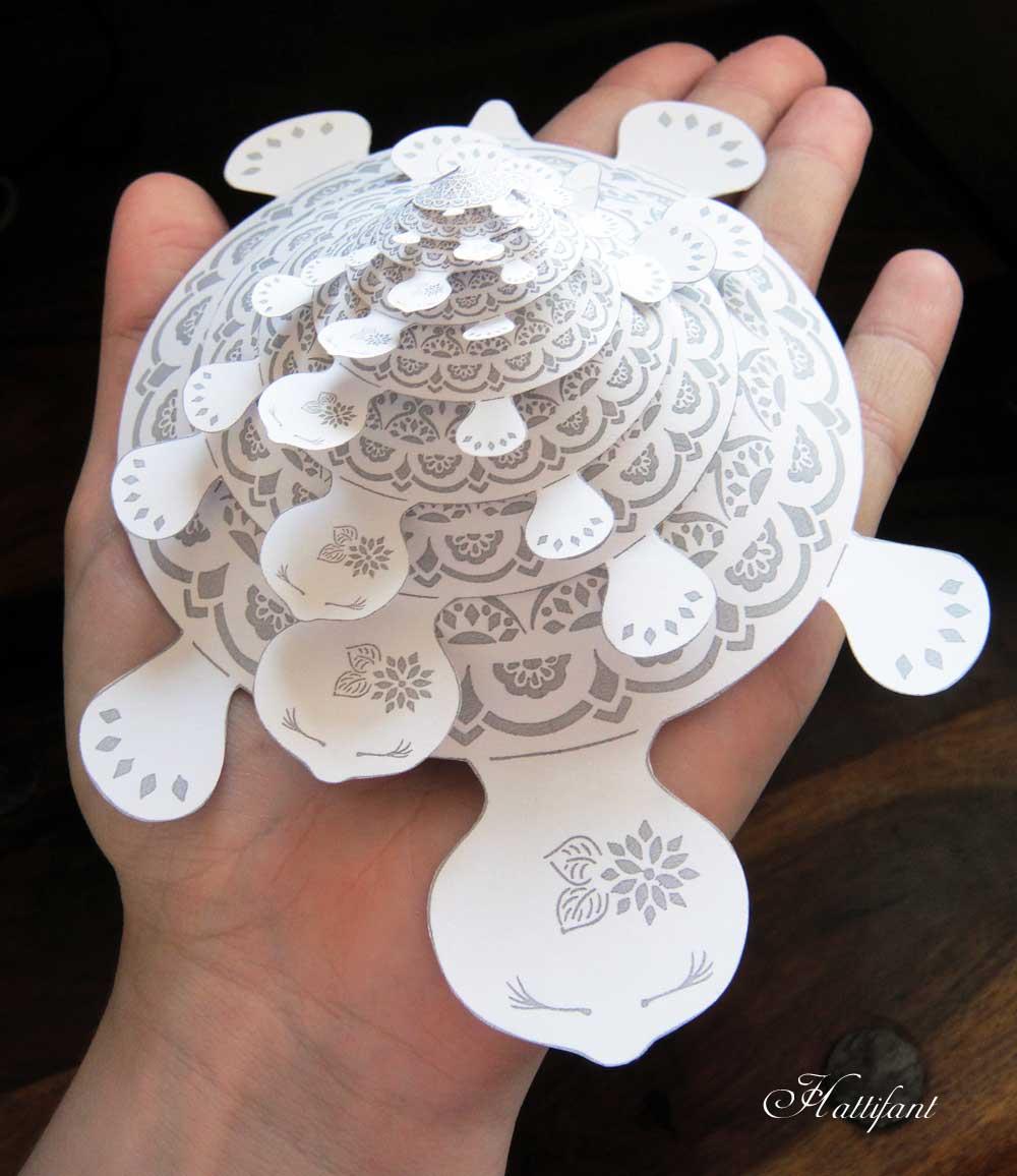Hattifant Mandala Turtle as Papercut Version template
