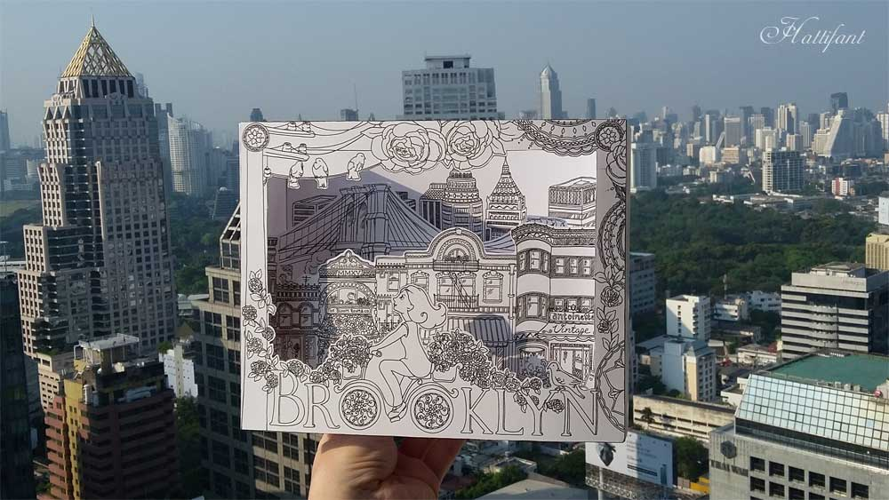 Hattifant's 3D-City to Color as Box Card inspired by Brooklyn