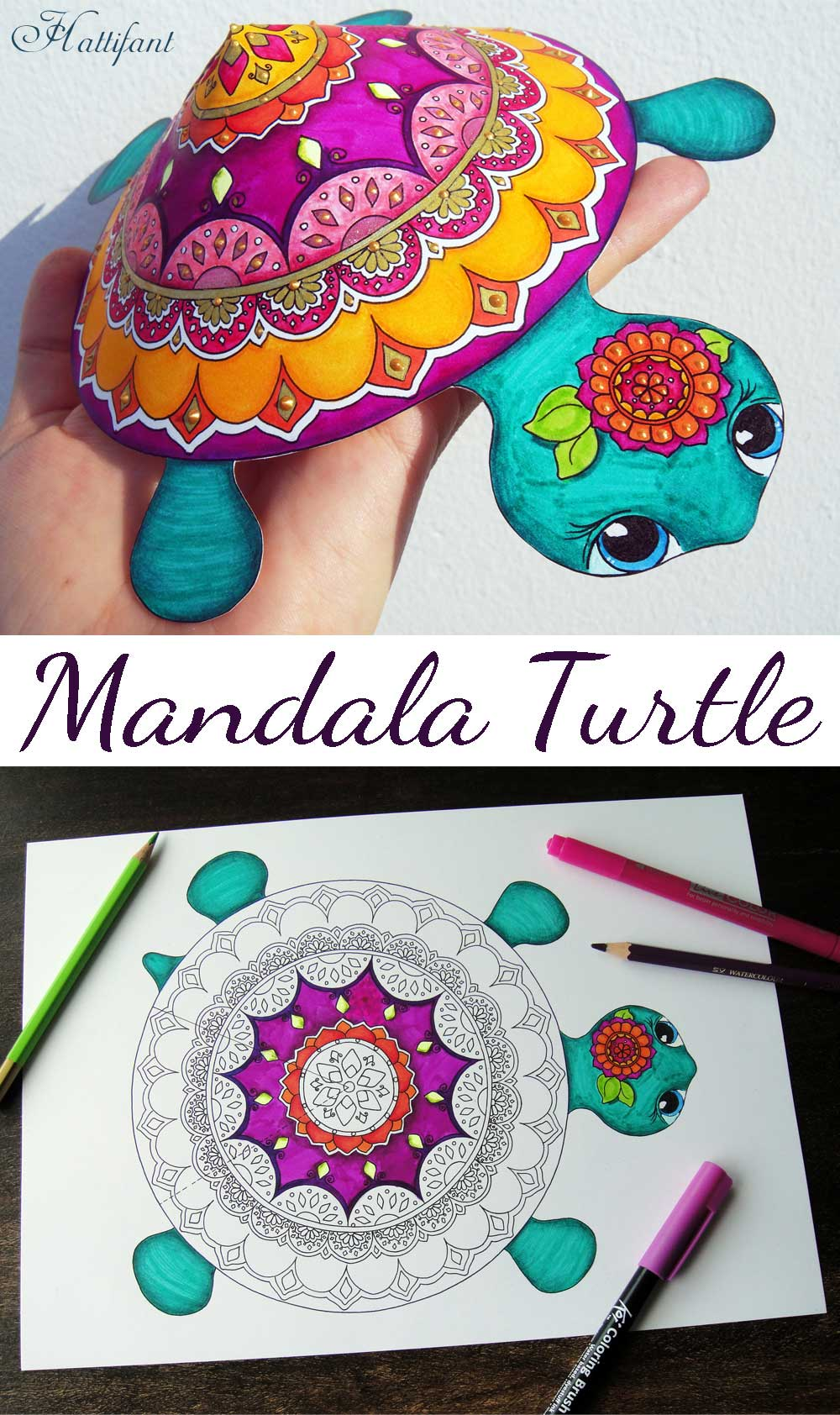 Hattifant's 3D Mandala Paper Turtle to Color and Craft