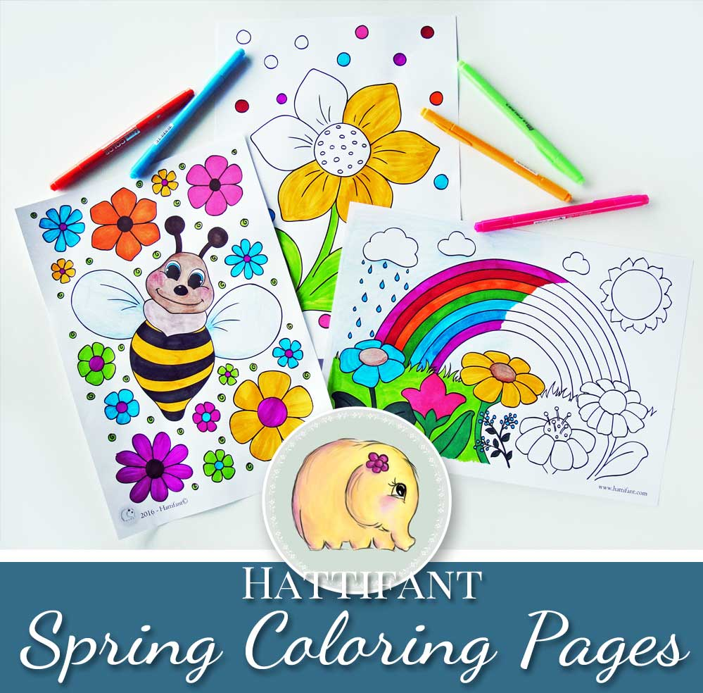 Hattifant Kids Coloring Pages for Spring with Bee Rainbow and Flower