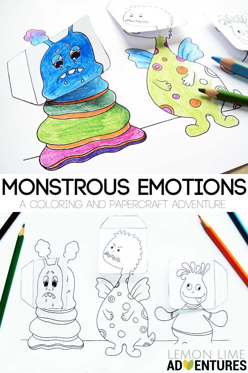 Hattifant's Monstrous Emotions for LemonLimeAdventures a simple emotions activity for kids