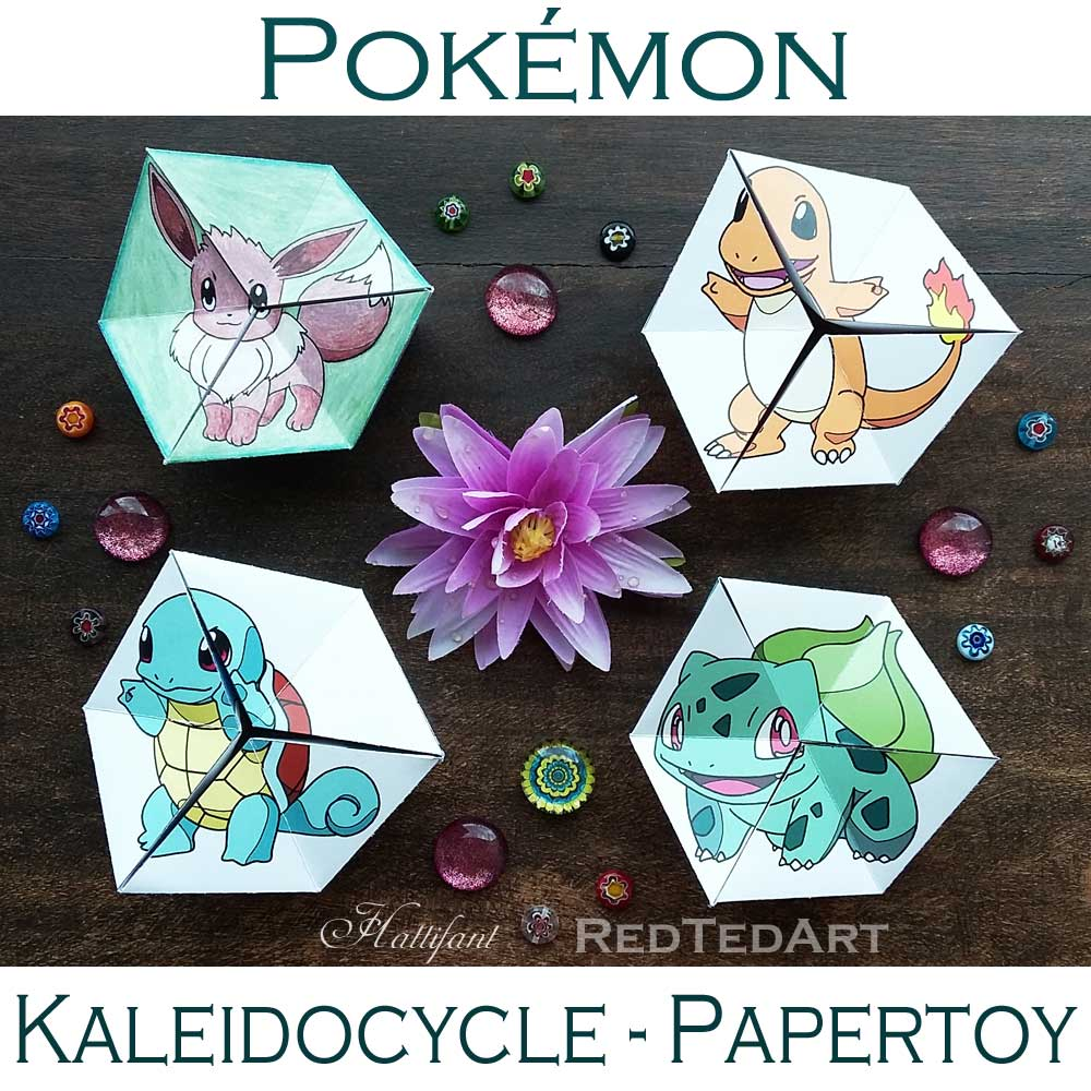 Pokemon Evolution Papertoy Flextangle Kaleidocycle