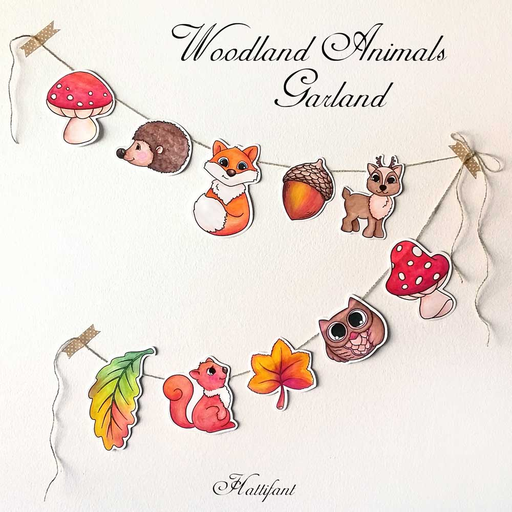 photo regarding Free Printable Woodland Animal Templates referred to as Hattifants Woodland Animal Garland towards/in just Coloration - Hattifant
