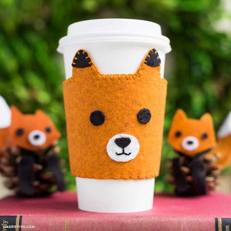 Hattifant favorite Felt crafts Fox Coffee Warmer Lia Griffith