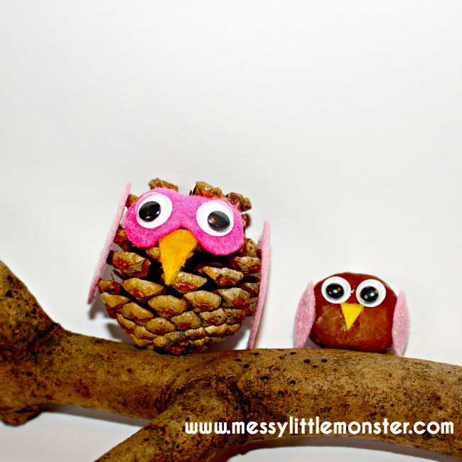 Hattifant favorite Felt crafts pine Cone Owls by Messy Little Monsters