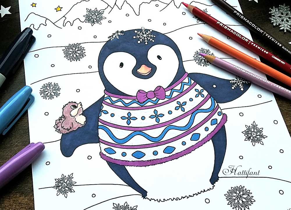 Hattifant's Penguin Winter Coloring Page