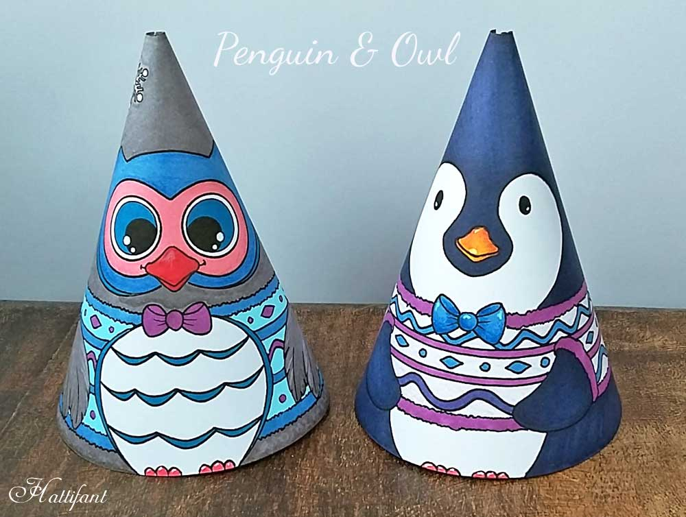 Hattifant's Winter Paper Toy Cones to Color and Craft Owl and Penguin
