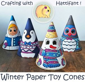 Hattifant's Winter Paper Toy Cones to Color and Craft