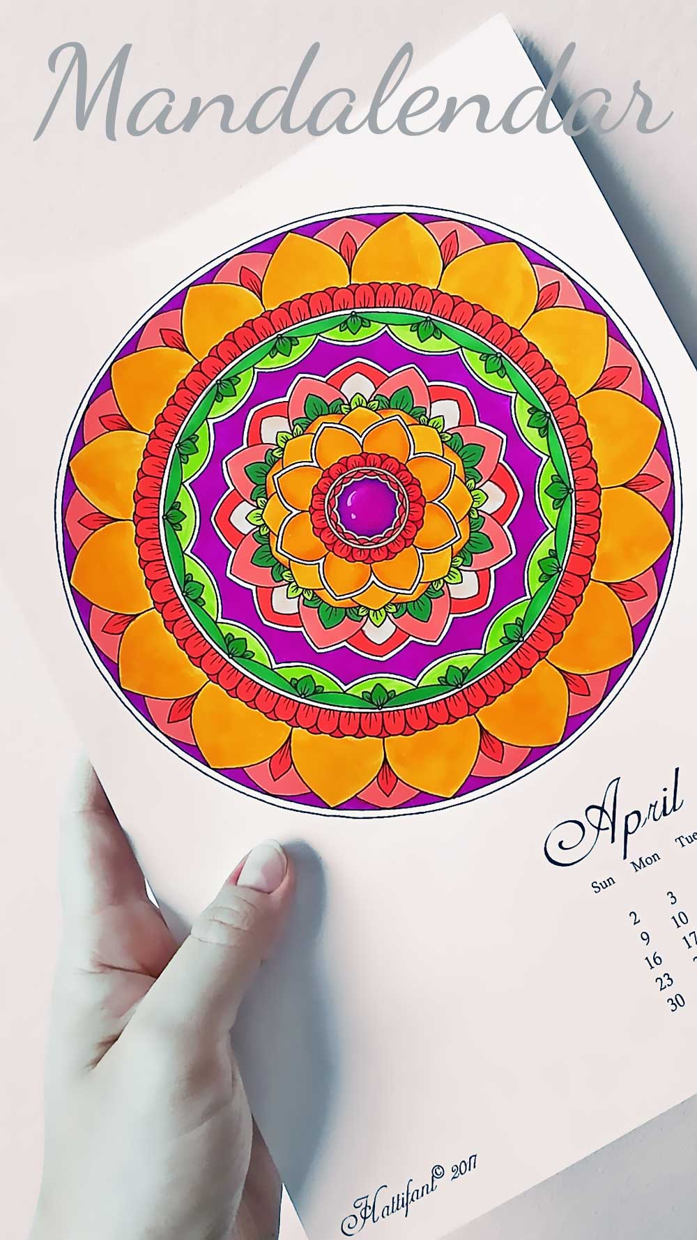 Hattifant's Mandalandar 2017 a Mandala Calendar Coloring Page for April to download for free during April