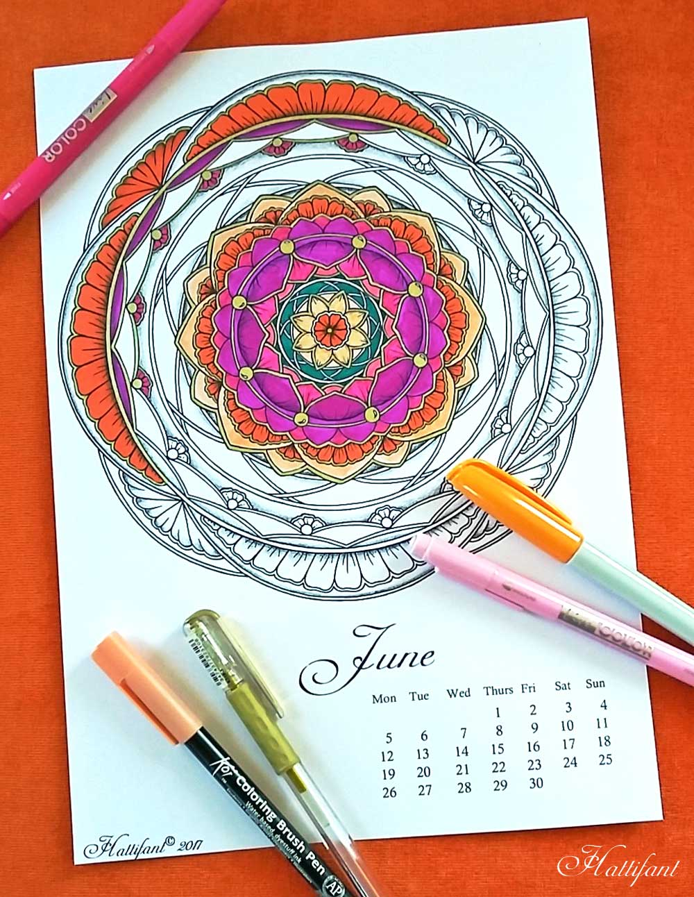 Hattifant's Mandalandar 2017 a Mandala Calendar Coloring Page for May to download for free during June