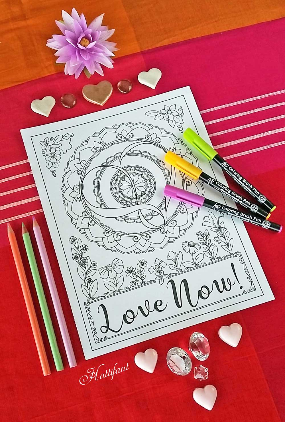 Hattifant's newest Coloring Book Inkpsiraitons Love by Design illustrated by Manja Burton Free Coloring Page with Red Ted Art