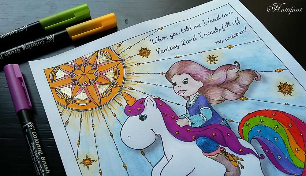 Hattifant's Quote Coloring Page I almost fell off my unicorn free download