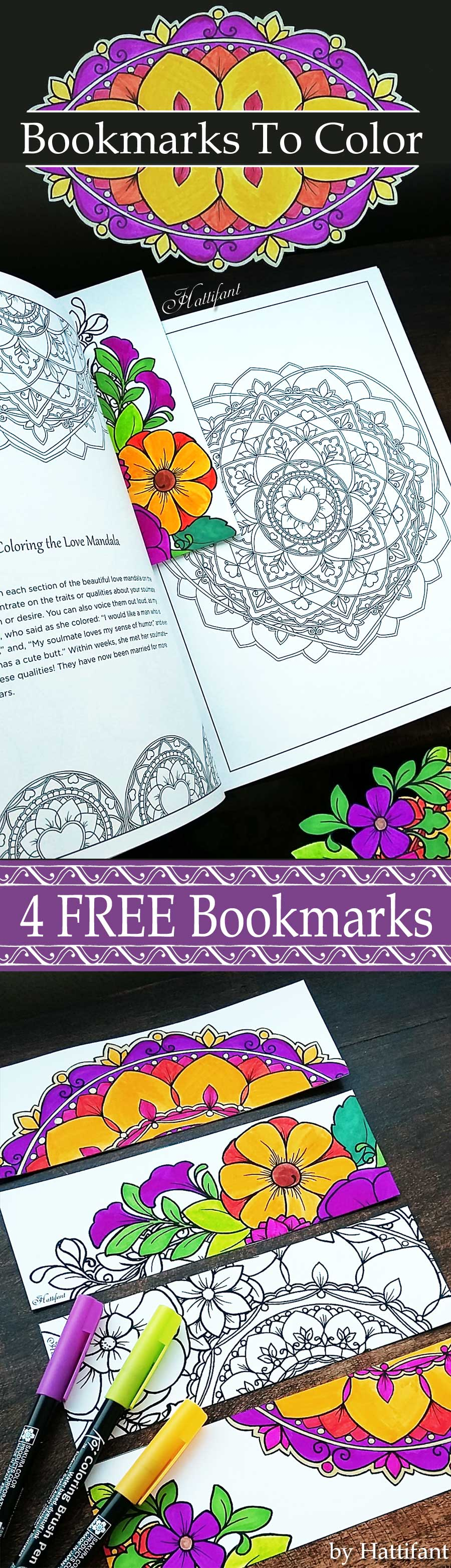 Hattifant's Flower and Mandala Bookmarks to color free printable coloring page