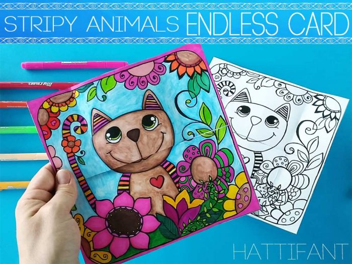 Hattifant's Stripy Animal Endless Card or Neverending Card a coloring page