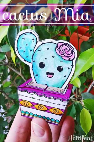 Hattifant's Mia a Cactus Favor Box Papercraft to download for free