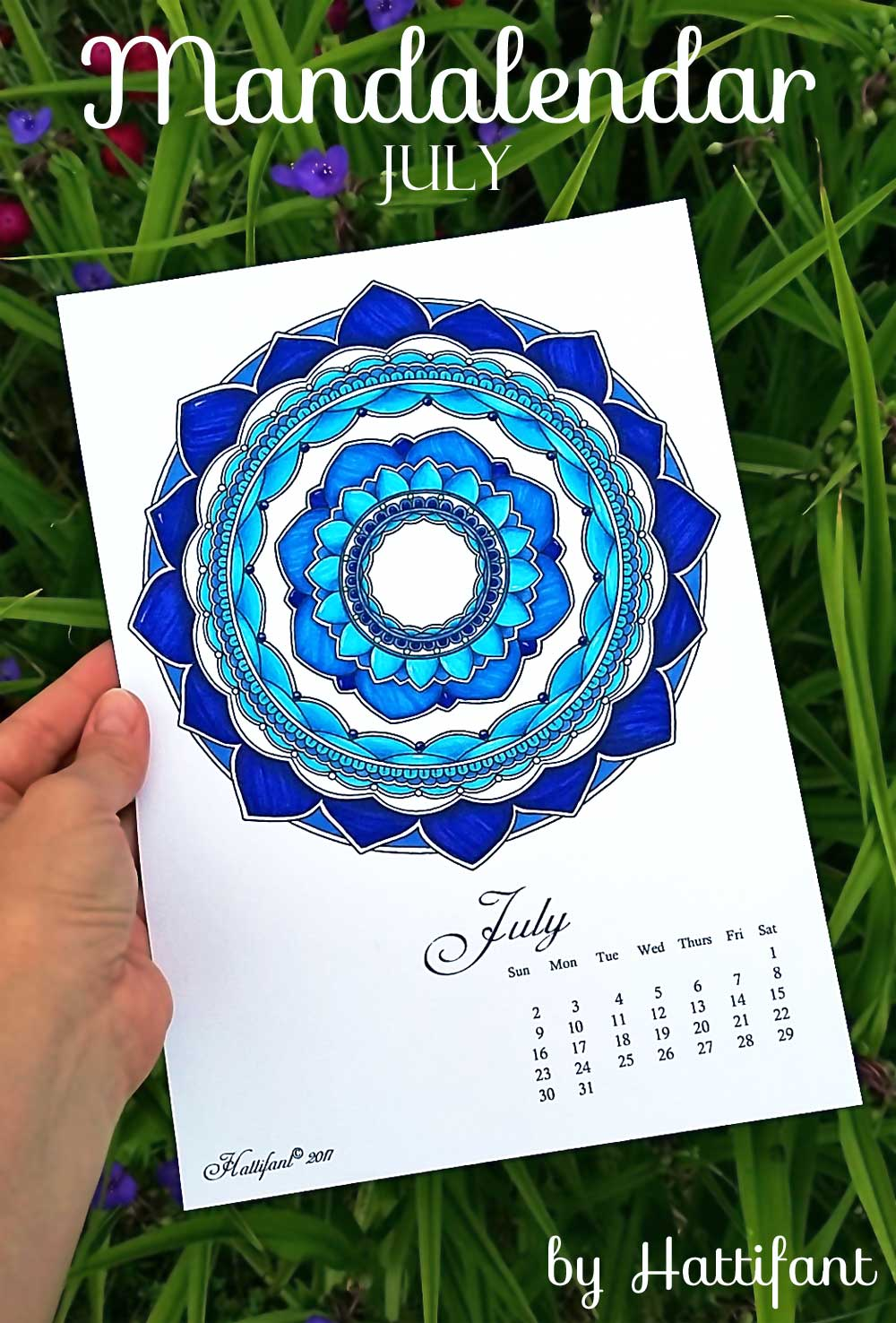 Hattifant's Mandalendar July 2017 a monthly Mandala Calendar Coloring Page